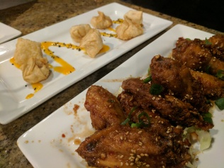 Brie Won Tons & Kona Style Chicken Wings